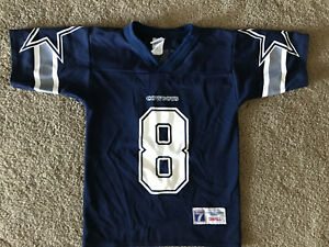 Troy Aikman Kids Dallas Cowboys Navy Logo 7 Jersey Small Youth