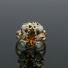 14KT Yellow Gold Filigree Citrine and Opal Ring Size 6.25
