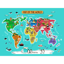 World Map With Landmarks And Animals Unframed Wall Art Print Poster Home Decor