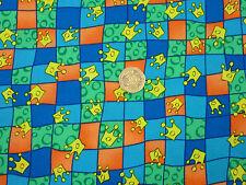 Children's Fabric Blue Green Orange Squares Yellow Crowns FQs | CH3