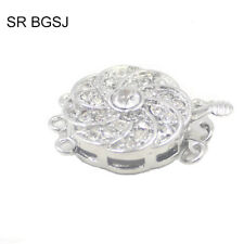 Jewelry Making 3- Strand White Gold Plated Rhinestone Box Connector Clasp 1 Pc