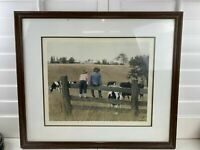 "Paul Rupert Numbered Signed Lithograph ""Kids And Cows"" with matting and frame"