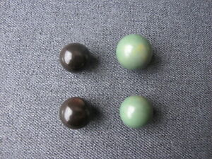 Vintage art deco flapper dyed green & brown ball galalith buttons beads