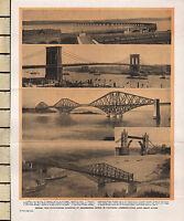 1906 PRINT ~ BRIDGES ~ VIADUCT RIVER TAY BROOKLYN BRIDGE QUEBEC TOWER LONDON
