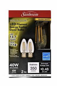 Sunbeam 4W/40Watt LED Dimmable Candle Shape Bulb, E26 Medium Base 10 Packs of 2