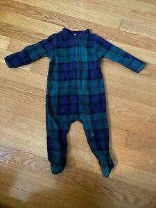 Old Navy Baby Fleece Sleeper Black Watch Plaid Zip Up 3-6 Months Family Matching