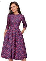 Women Dress A Line Three Quarter Sleeves Knee Length Round Neckline Elegant New