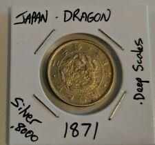 1871 Japan Dragon 20 Sen Silver Coin Deep Scales