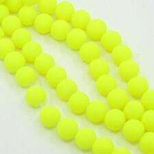 100 Neon Yellow Beads 8mm Glass Beads Rubber Beads Wholesale Beads