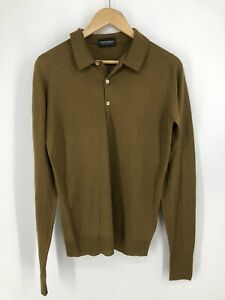 JOHN SMEDLEY MEN BROWN WOOL MADE IN BRITAIN T SHIRT size S