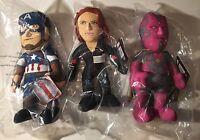 Marvel Bleacher Plush Set: AVENGERS! Captain America, Vision, Black Widow!