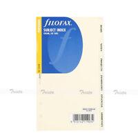 Filofax Personal Subject Index Cream 6 Tabs Note Paper Insert Organiser - 131678