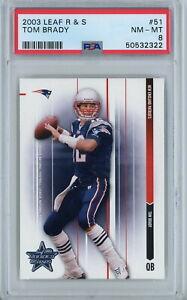 2003 Leaf Rookies & Stars 51 Tom Brady PSA NM-MT 8 New England Patriots QB