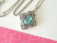 Brighton Alcazar Blaze Blue Heart Silver Chain Pendant Necklace New tags $78