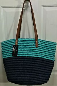 """NWT Chateau XL Straw Tote, Turquoise & Navy Color Block, Brown Straps,  13""""T"""