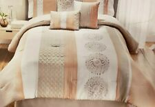 Hallmart Collectibles Crawford King Comforter Embroidered Pink Taupe Neutral
