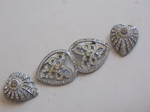 Fabulous Vintage 50s Diamante Duette Clips with Jewelled Frame 3 Wearable Pieces