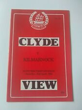 Clyde v Kilmarnock Scottish Football programme 1984