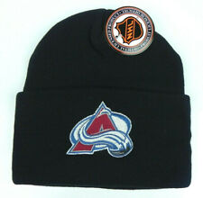 COLORADO AVALANCHE NHL BLACK VINTAGE KNIT CUFFED BEANIE SKI WINTER CAP HAT NEW!