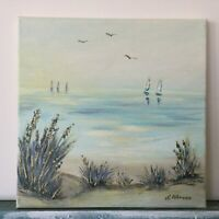 "Seascape Beach Sea Original Acrylic painting on canvas 10""x10""x0.8 Modern Art"