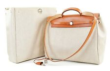 Auth HERMES Her Bag 2 in 1 Beige Canvas and Leather Hand Shoulder Bag #36137