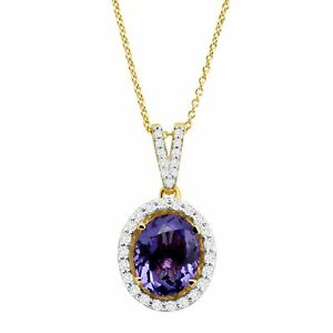 Simulated Stone Oval Pendant with Cubic Zirconia in 14K Gold On Sterling Silver