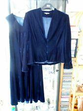 KLASS COLLECTION MIDNIGHT BLUE VELOUR VELVET 2 PIECE SUIT DRESS & JACKET SIZE 16