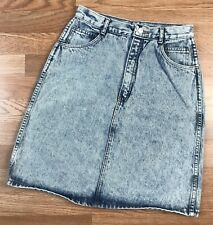 Vintage 80s 90s Jordache Acid Washed Denim Skirt Size 11 Stone Pencil Straight