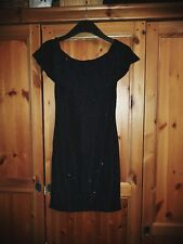 New With Tags Ladies Stretch Black Glittery Party Dress - Size 8