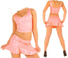 100% latex rubber pink casual sports golf ladies top and skirt 0.4mm S-Xxl