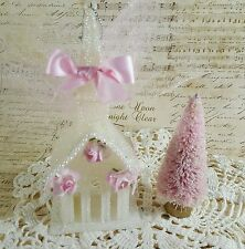 Shabby Chic Roses Pink Christmas Village Church House and Bottle Brush Tree Set