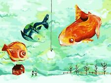 GOING FISHING PAINTING PAINT BY NUMBERS CANVAS KIT 12 x 16 ins FRAMELESS, NEW