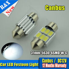 1X 31mm 6 SMD 5630 LED Pure White Car Festoon Interior Dome Light Lamp Bulb 12V