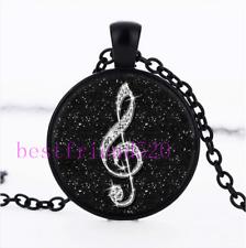 Black Diamond musical note Cabochon Glass Black Chain Pendant Necklace#A404