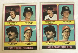Vintage Lot 2 Rookie Pitchers 1976 599 MLB Baseball Topps Cards Guidry/McClure