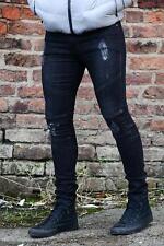 Stone Edge Mens DESIGNER SKINNY Stretchable Ripped Freyed Biker Denim Jeans Regular Black Wash Se403 34 In.