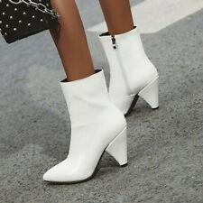 Womens Ladies Ankle Boots Cone Block High Heels Celeb Gift Size 35-47 Casual New
