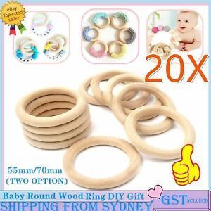 20X Baby Newborn Natural Round Wood Ring Wooden Toy DIY Baby Gift jewelry making