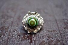 Sterlingsilber 925 Ring mit Dzi-Stein Achat Zertifikat -Luk Mig- Schafauge Tibet