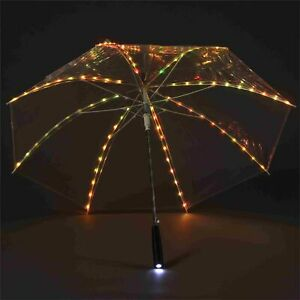 LED Regenschirm Transparent, buntes Leuchtlicht mit 80 eingearbeiteten LED s