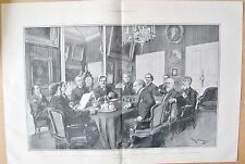 1901 ANTIQUE PRINT - READING PLAY TO COMMITTEE OF COMEDY FRANCAISE- NAMED