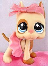 Littlest Pet Shop RARE TAN GREAT DANE DOG #1647 Skirt Bow Clothes ~ GIFT BAG!