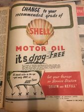 Shell Motor OIL Original 1940s Australian Vintage Print Advertising WW2 Era