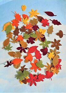 Felt die cut leaves x 64 mixed autumn colours embellishments toppers