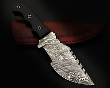 "03) 9.5""HANDMADE DAMASCUS STEEL TRACKER KNIFE/MICARTA HANDLE-COW LEATHER SHEATH"