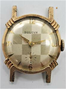 Running Bulova 10BT Mens 30mm Gold Plated 15J Stainless Steel Wrist Watch W15