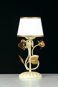 Lumetto Wrought Iron Roses Leaves Gold Lampshade Italian Product Artisan