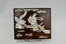 Antique Chinese Wooden Box with Mother of Pearl Decoration Inlay