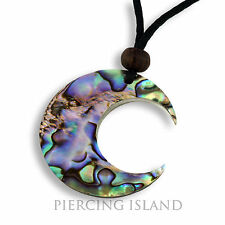 Halskette Anhänger Kette Abalone Muschel Handarbeit Mond Design N206