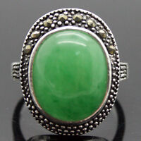 Big Green OVAL JADE marcasite 925 STERLING SILVER RING Size 7/8/9/10